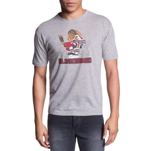 Chicago Blackhawks Logo Brass Tacks Soft Mens T-shirt Light Gray