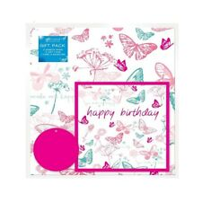 Pink Butterfly Wrapping Paper 2 Sheets/&Tags Pink Polka Dot/& Butterfly Gift Wrap