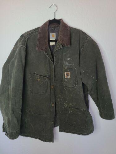 VTG Carharrt Chore Coat, olive army green Jacket,