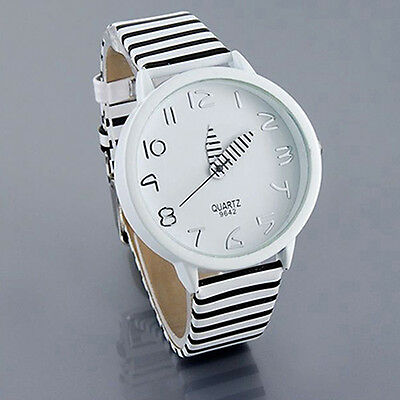 Women's Fashion Round Zebra Stripes Faux Leather Strap Quartz Analog Wrist Watch