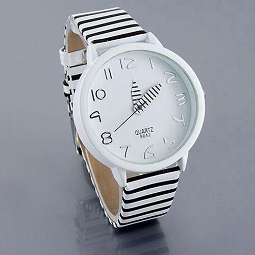 Mens Womens Nice Dial White Black Stripes Leather Band Quartz Analog Wrist Watch