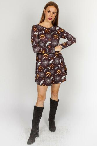 Womens Pumpkin Galaxy Bat Halloween Costume Ladies Smock Flared Swing Dress