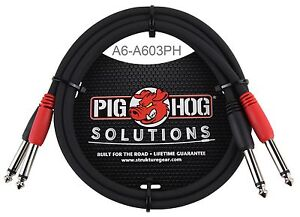3ft-Dual-1-4-034-TS-Mono-Male-Male-Plug-Noise-Free-Pig-Hog-Audio-Cable-A6-A603PH