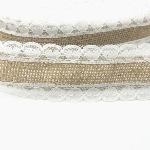 DIY 2M Jute Burlap Christmas wedding Decor Natural Jute Heart shape lace Ribbon