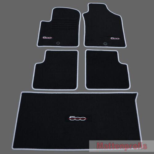 Kofferraum Set für Fiat 500 500 Cabrio 2007-2013 sil Velours Logo Fußmatten