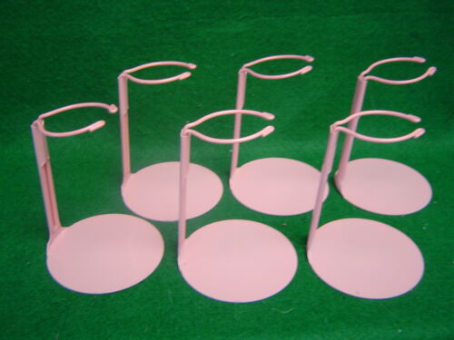 Doll Stands set of 6 six  Pink Metal stands for 6 to 11 inch Dolls