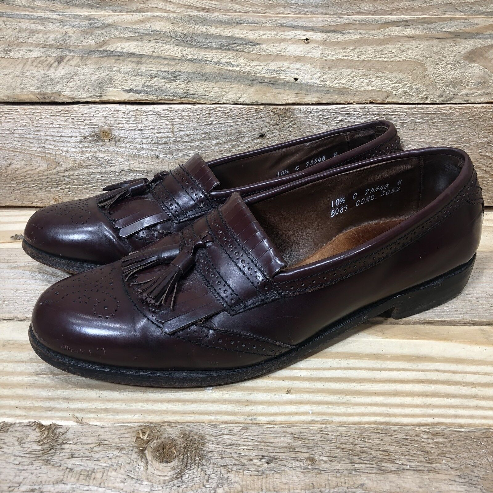 ALLEN EDMONDS Leather Bridgeton Wingtip Burgundy Tassel Leather EDMONDS Loafer Dress Shoes 10.5 3c2ab6