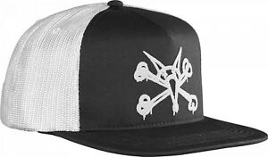 Powell-Peralta-PUFF-VATO-RAT-BONES-Skateboard-Trucker-Hat-BLACK-WHITE-WHITE