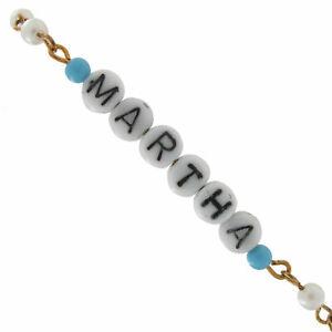 Martha - Blue Glass Faux Pearl Name Link Bracelet - Circa 1950-60