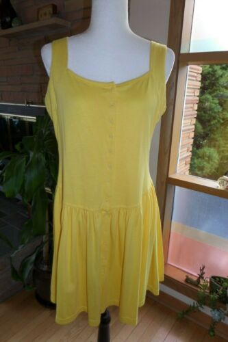 Vintage 1980s Bright Yellow Caged Back Dress Large
