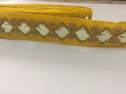"1 yard yellow color Indian Gotta Sitara Lace Border Craft Lace Ribbon 1.5/"" wide"