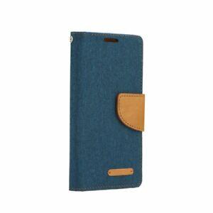Toile-Jeans-Portable-Sac-Wallet-Bookcase-Housse-a-rabat-Book-Case-Housse-de-Protection-Bleu