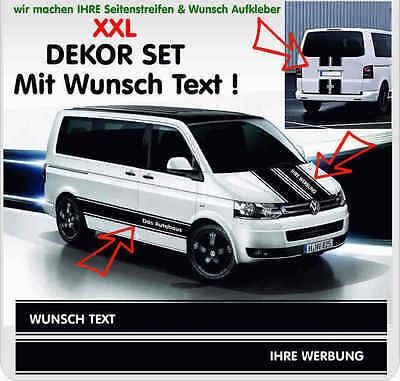 VW Bus T4 T5 Wunsch Text Dein Logo XXL Aufkleber Sticker Komplett Set für