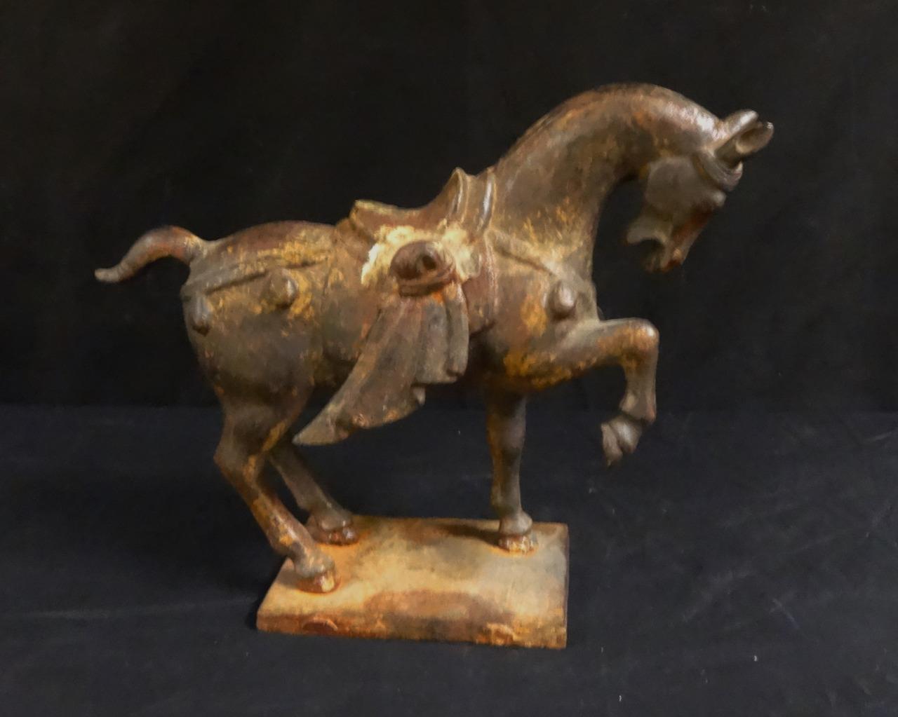 Antique Cast Iron Prancing War Horse Horse War European d86ad8