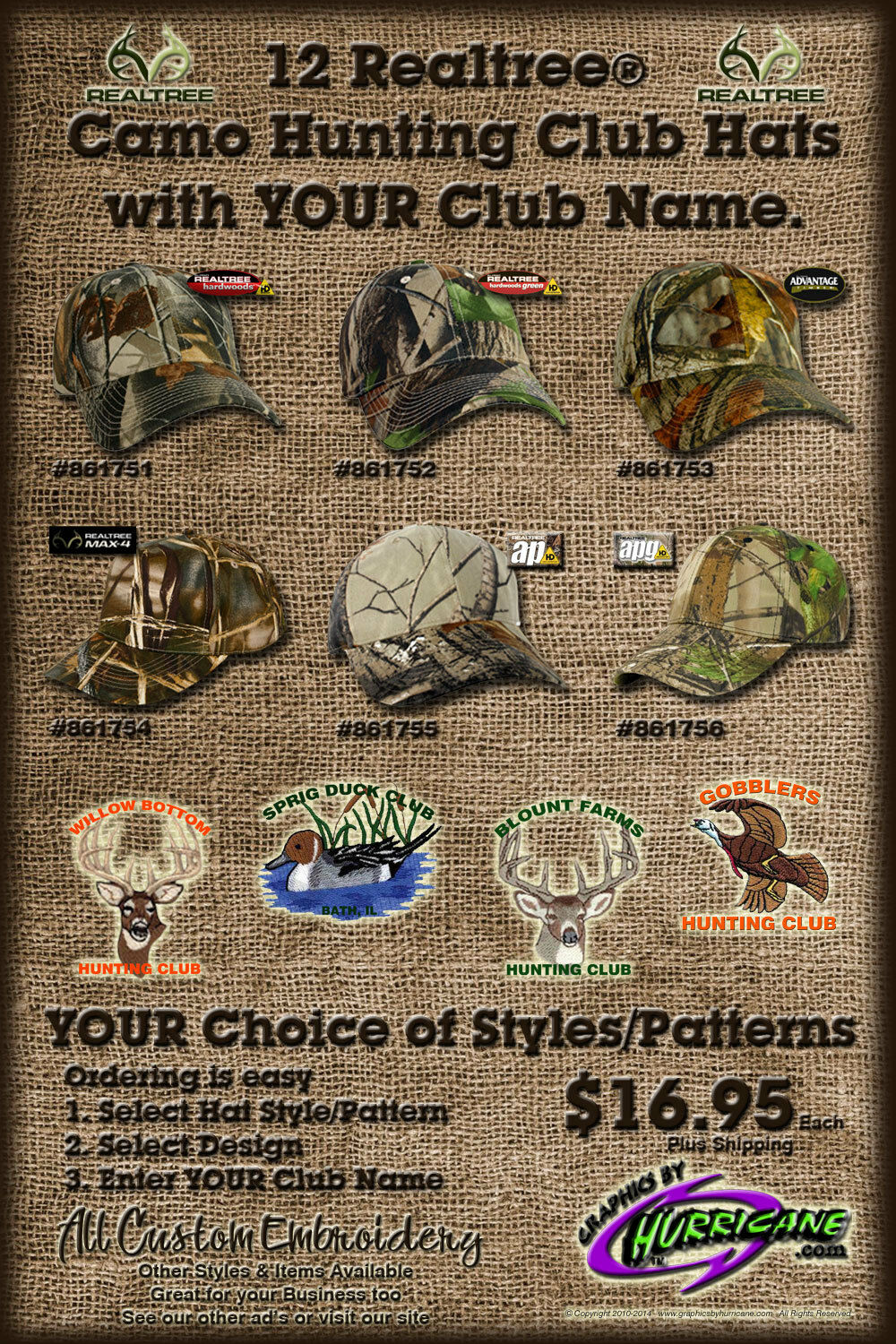 12 Awesome Realtree  Camo Hunting Club Hats with YOUR Club Name (Embroidery)