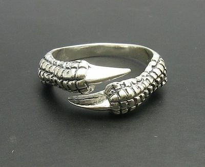 STERLING SILVER RING SOLID 925 DRAGON CLAWS BIKER NEW SIZE L - Z++