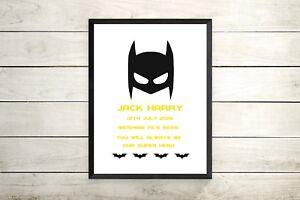 personalised Batman Superhero Boys Room Nursery Wall Art Prints