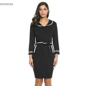 Women-Elegant-Tunic-Business-Casual-Party-Pencil-Sheath-Dress-H1PS
