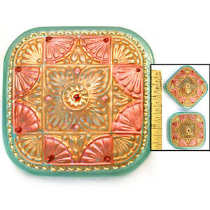 LAST ONE LG 32mm Czech Glass TURQUOISE Coral Gold SQUARE Lace Fan Buttons 2pc