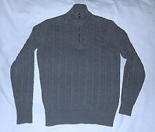 Loro Piana -100% Pure Baby Cashmere Cable Knit Zip Sweater-Size 52/42 Usa-Gray.