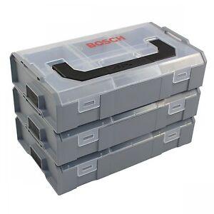 3x-Bosch-Sortimo-L-Boxx-Mini-Lbox-leer-260x63x155-grau-Deckel-transparent