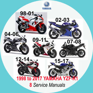 Details about YAMAHA YZF-R1 1998 to 2017 (YZF-R1) all SERVICE MANUAL (8  MANUALS on 1 CD) A2