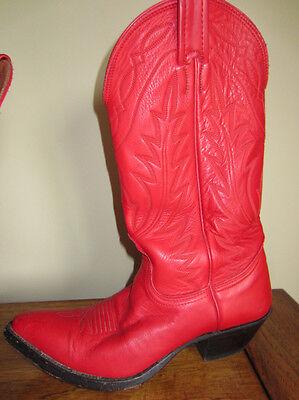 Ladies RED Vintage Nocona Cowgirl Cowboy Leather Boots 7 ARIEL FOOTLOOSE