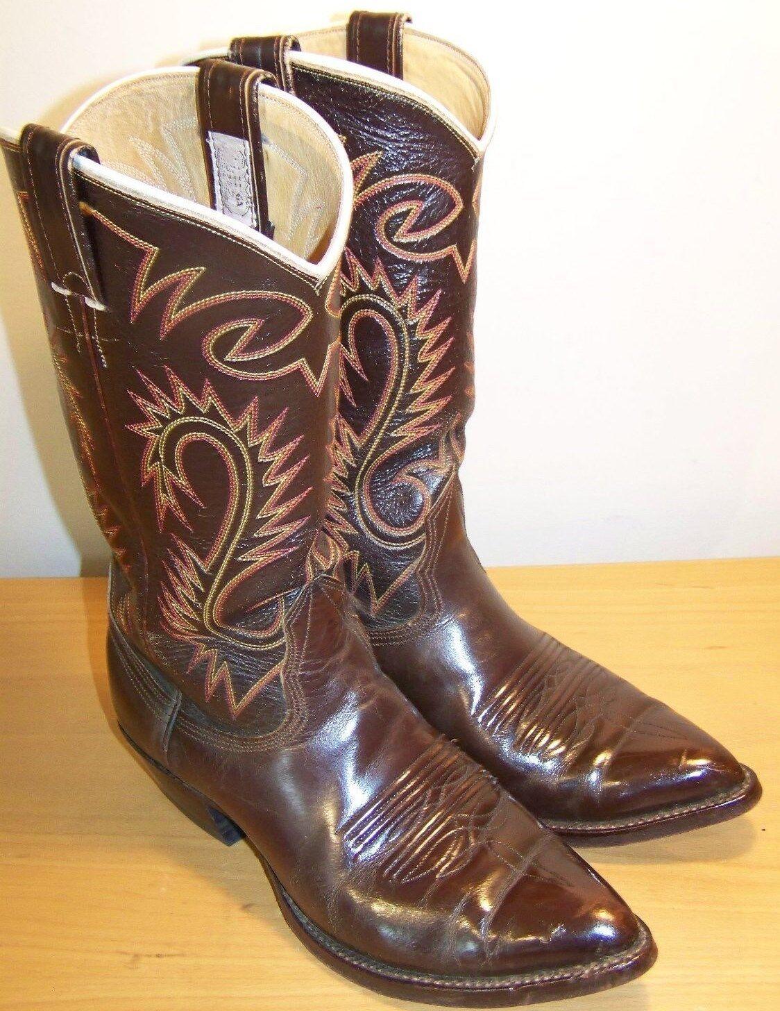 NOCONA Brown Men's Leather Cowboy WHITE LABEL 1234 Western Boots 8 D EUC USA
