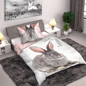 Lapin-Set-Housse-de-Couette-Simple-Reversible-Photo-Design-Imprime-100-Coton