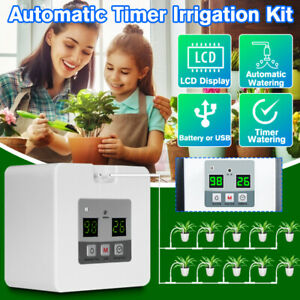 Automatic-Timer-Drip-Irrigation-Kit-Garden-System-Plant-Watering-LCD-Display