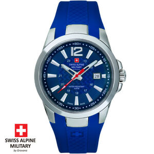 Swiss-Alpine-Military-by-Grovana-7058-1835-blau-Armband-Uhr-Herren-NEU