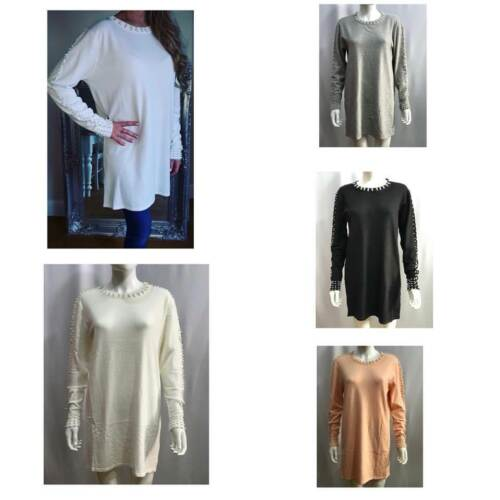 Women Ladies Top Sweater Jumper pearl Sweater Pullover Tops short Dress 1 size