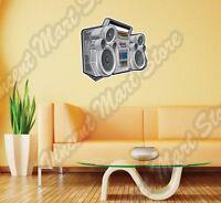 Boom Box Audio Player Cd Cassette Cartoon Wall Sticker Interior Decor 25x20