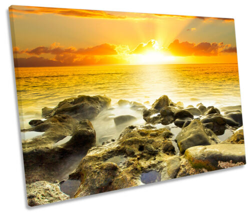 Rocky Sunset Beach Seascape SINGLE CANVAS WALL ART Picture Print
