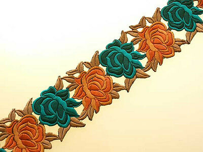 Embroidered, Iron-On Trim. 3 Yards. Shades of Teal & Persimmon