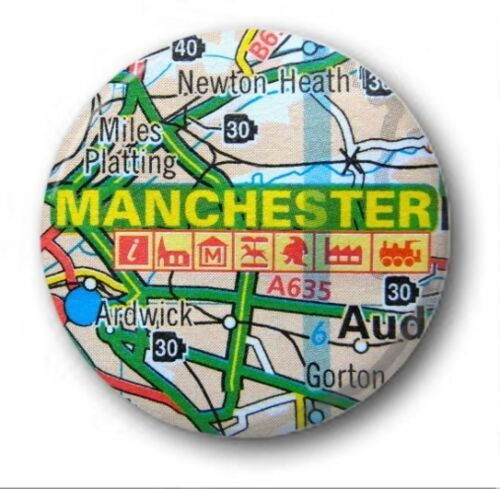 """Various Designs H-M Road Map -  1/"""" // 25mm Button Badge - UK TOWNS /& CITIES"""