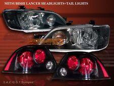 2002-2003 MITSUBISHI LANCER JDM BLACK HEADLIGHTS + BLACK TAIL LIGHTS SEDAN 4DR
