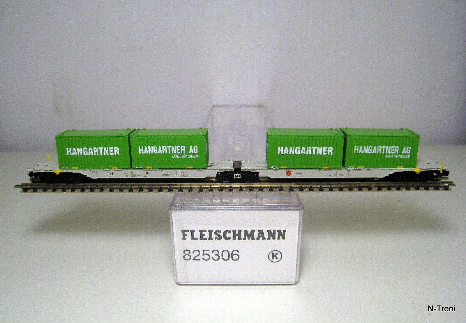 Fleischmann N 825306 K - Pianale doppio Sggmrs AAE con 4 container Hangartner