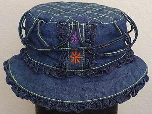 Girls-Toddler-Denim-Summer-Bucket-Sun-Hat-4-Colors-to-choose-New