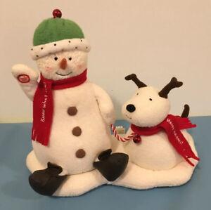 Hallmark Jingle Pals Animated Musical Plush Carol Singing Snowman w Dog WORKS