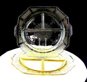 ANCHOR-HOCKING-DEPRESSION-GLASS-PRINCESS-TOPAZ-2-PIECE-10-5-034-GRILL-PLATES-1931