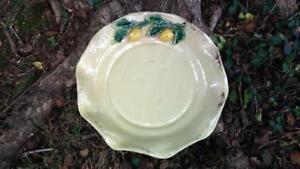 Vintage-Maxcera-Large-Majolica-Centerpiece-Shallow-Scalloped-Bowl-w-Lemons