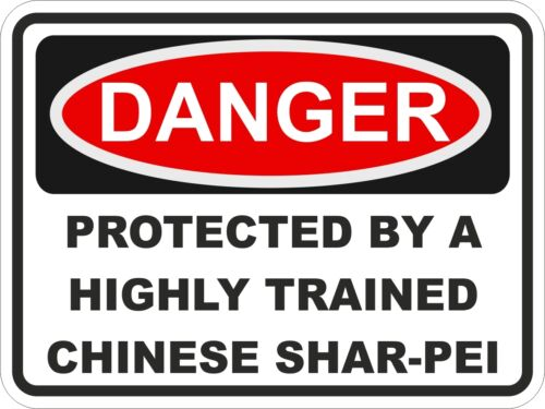 Dog Breed CHINESE SHAR-PEI Danger Sticker Pet for Bumper Locker Car Door Locker
