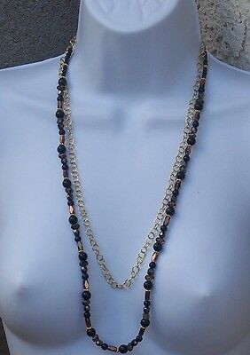 Black and Gold Chain Necklace With Beads 24.5 Inch Beaded Handmade Jewelry NWOT
