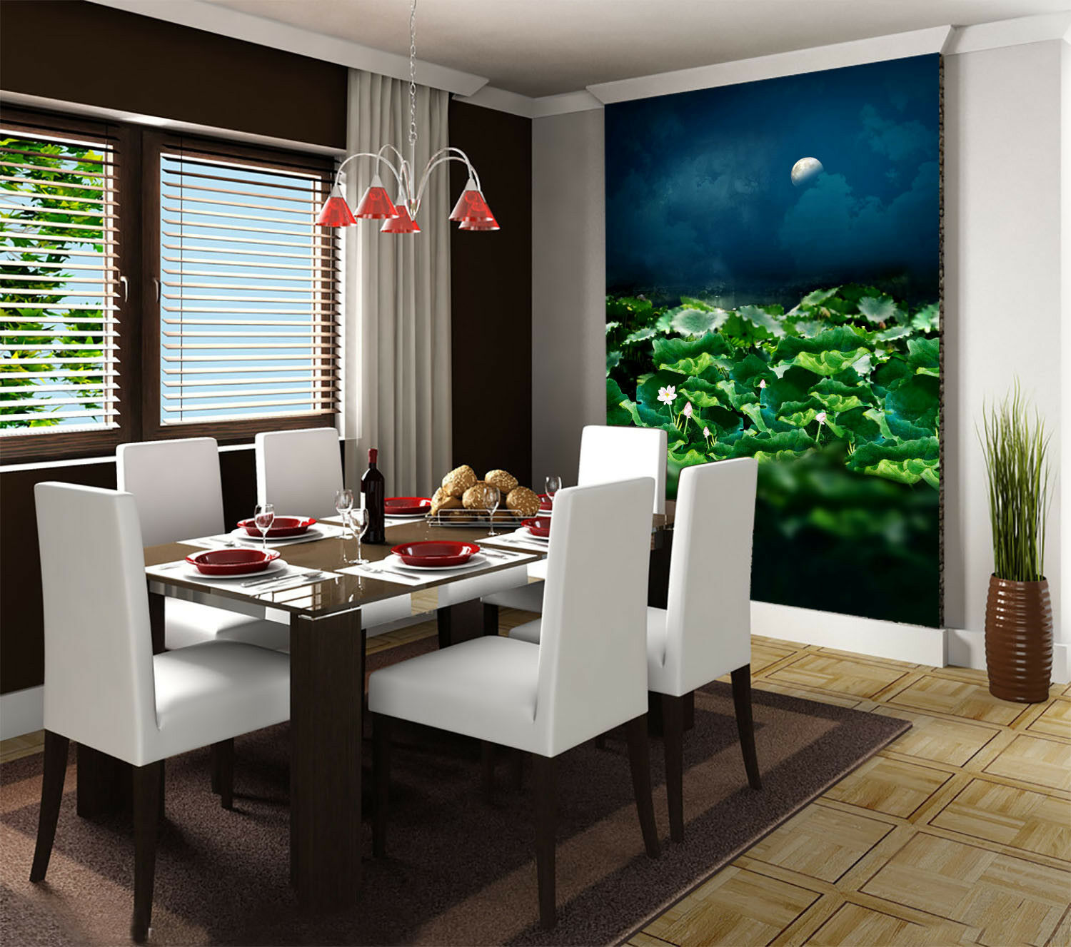 3D Moon Lotus Pond 52 Wall Paper Wall Print Decal Wall Deco Indoor Mural Summer