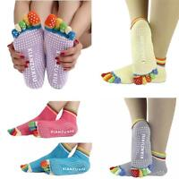 Womens 5-Toe Colorful Yoga Gym Non Slip Massage Toe Socks Full Grip Colorful