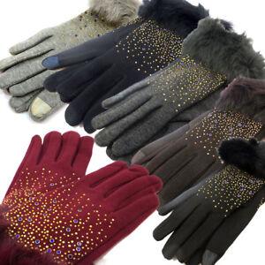 Winter Gloves Woman Touch Screen Elegant Warm Rhinestone Smartphone Tablet