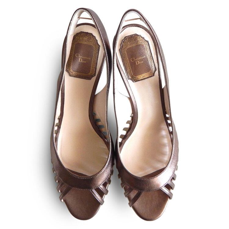 NEW  752 CHRISTIAN DIOR Whisper Slingback Sandals - Bronze Bronze Bronze Metallic - Dimensione 37.5 8f2327