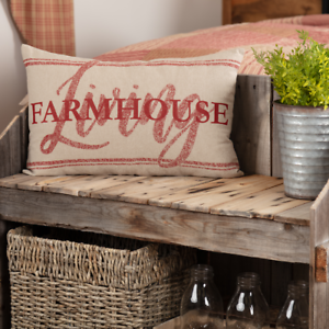 Details about New SAWYER MILLS Farm House Word RED FARMHOUSE LIVING GRAIN  SACK PILLOW 22