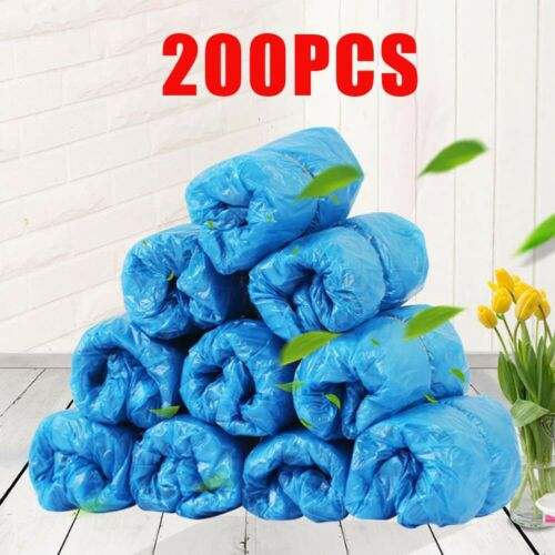 200 PCS Medical Waterproof Boot Covers Plastic Disposable Shoe Covers Overshoes